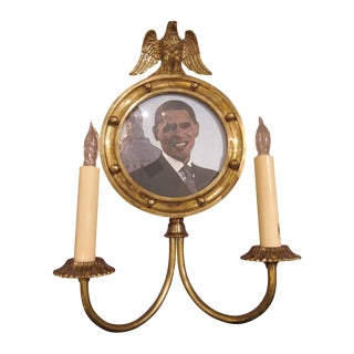 Federal Style Mirror Back Sconce With Circular Picture Frame For Sale