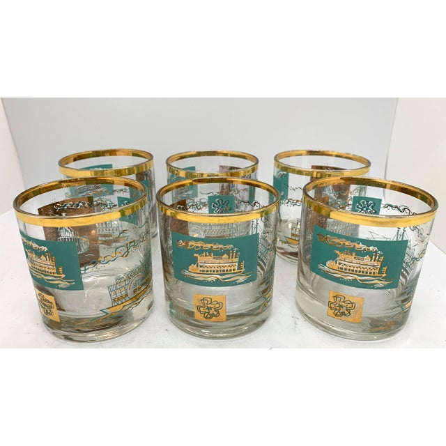 Metal 1950s Mid-Century Culver Steamboat Lowball Glasses - Set of 6 For Sale - Image 7 of 8