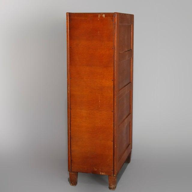 Antique Arts & Crafts Paneled Oak 10-Drawer Filing Cabinet, Yawmen & Erbe For Sale - Image 4 of 10