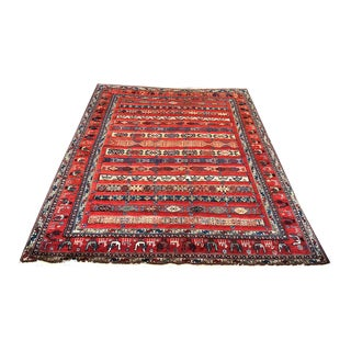 1970s Vintage Tribal & Primitive Flat Weave Soumak/Sumac Rug For Sale
