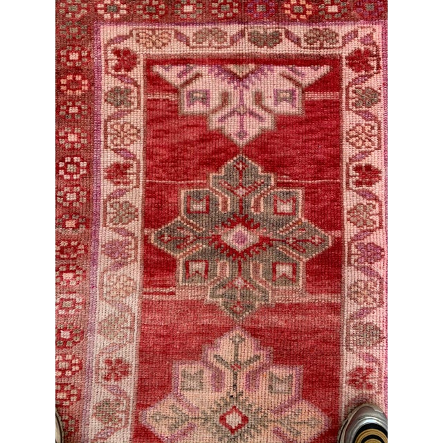 Textile Vintage Turkish Oushak Red Runner- 2′10″ × 12′10″ For Sale - Image 7 of 9