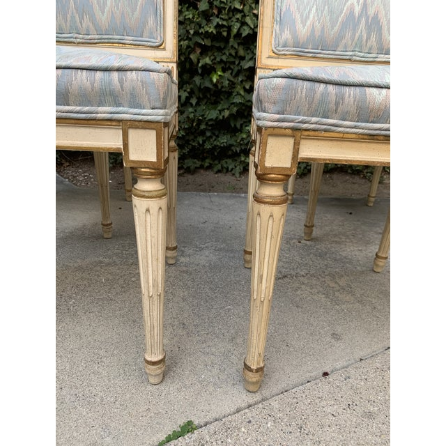 1940s Hollywood Regency Dining Chairs With Blue Upholstery - Set of 4 For Sale - Image 5 of 8