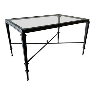 1960s Hollywood Regency Forged Wrought Iron and Glass Rectangular Coffee Table For Sale
