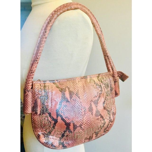 1990s Gianni Versace Iridescent Pink Python Shoulder Bag For Sale - Image 12 of 12