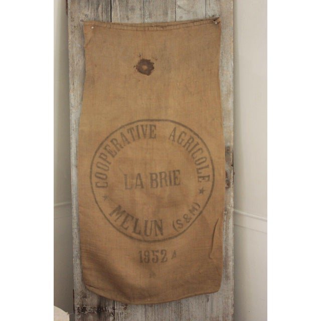 French Hessian Rustic Sack Vintage French Burlap Circa 1952 for Framing Hanging 2 Sides For Sale - Image 3 of 4