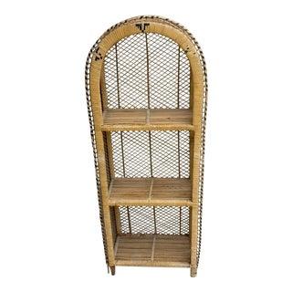 Vintage Boho Bamboo Etagiere Shelf Unit, Plant Stand