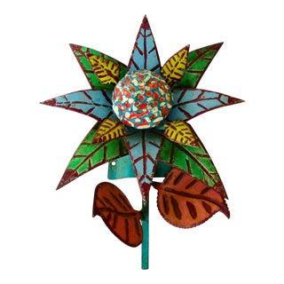 Folk Art Sculptural Wall Flower For Sale
