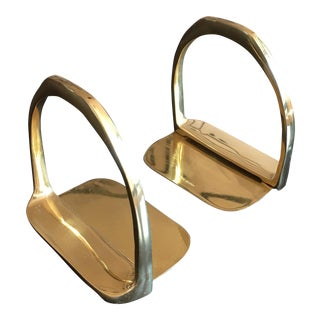 Mid-Century Brass Bookends - a Pair For Sale