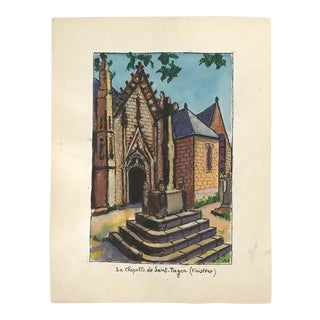 1970s Vintage Signed French Gouache Painting of the Chapel of Saint-Tugen in Finistere For Sale