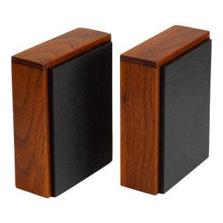 Scandinavian Modern Slate and Teak Bookends - a Pair For Sale