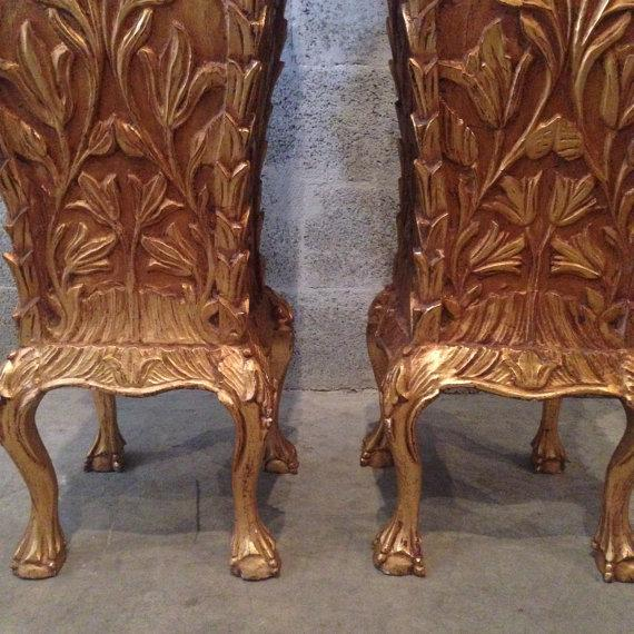 Chippendale Golf Leaf Chippendale Pillars - A Pair For Sale - Image 3 of 6