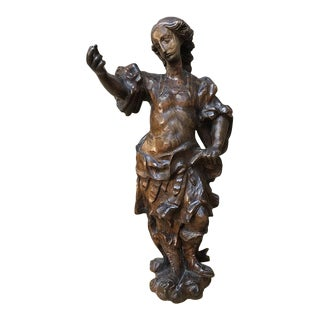 17th Century Carved Wood Statue of Young Gentleman