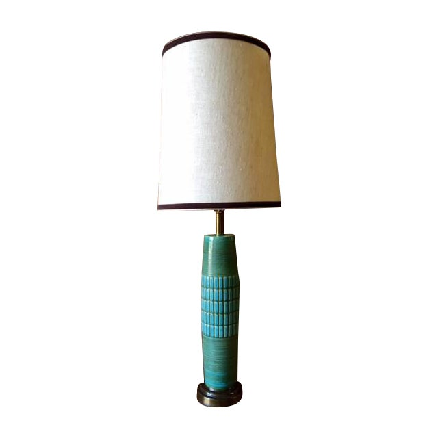 Mid Century Ceramic & Brass Lamp - Image 1 of 5