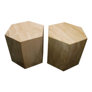 Six Sided Travertine Side Tables - a Pair For Sale