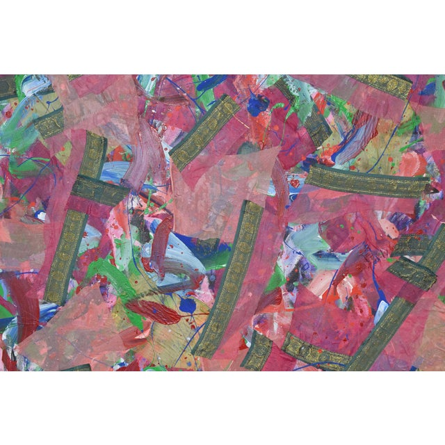 Joseph M. Glasco Oil and Collage on Canvas, #34, Dated 1985 For Sale - Image 9 of 13
