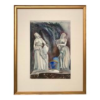 Vintage Mid Century Watercolor Classic Figures For Sale