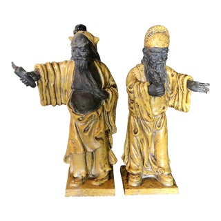 1940s Italian Glazed Figures of Chinese Immortals - a Pair For Sale