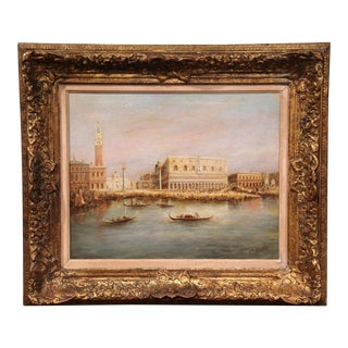 19th Century Venice Doge Painting in Ornate Gilt Frame Signed Lemstra Dated 1880