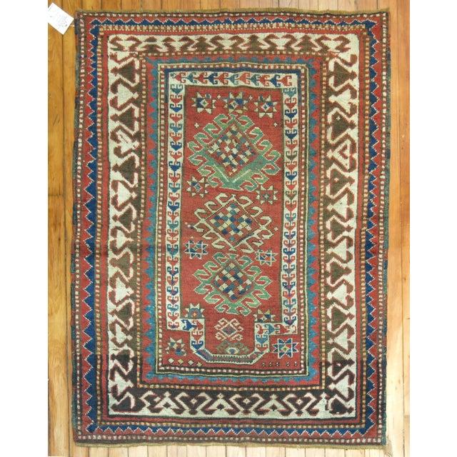 Antique Caucasian Kazak Rug- 3' x 4'3'' - Image 2 of 7