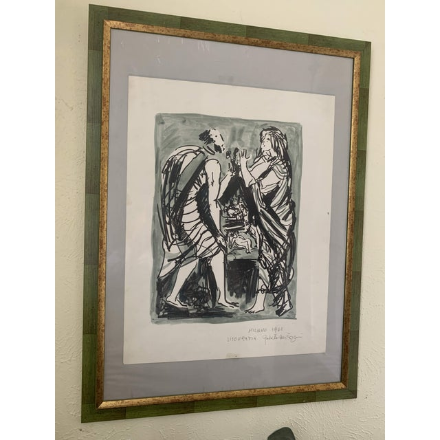 1961 Italian Framed Watercolor Ink Sketch Painting of a Roman Man and Woman Wearing Togas For Sale In Denver - Image 6 of 10