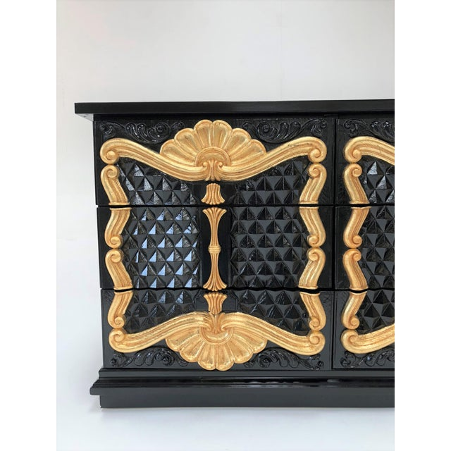 1970s Hollywood Regency High Gloss Black and Red Lacquer Dresser W Gold Leaf Details For Sale - Image 5 of 12