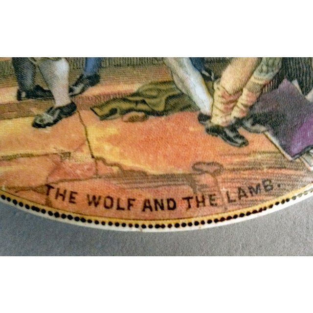 """F. & R. Pratt & Co. Antique Prattware Pot Lid """"The Wolf and the Lamb"""" For Sale - Image 4 of 6"""