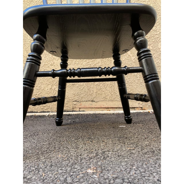 Wood Set of 6 Black Stained Windsor Chairs For Sale - Image 7 of 12
