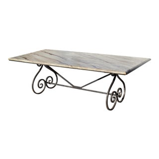 Wrought Iron Dining Table W/ Cast Stone Top Faux Painted as Marble For Sale