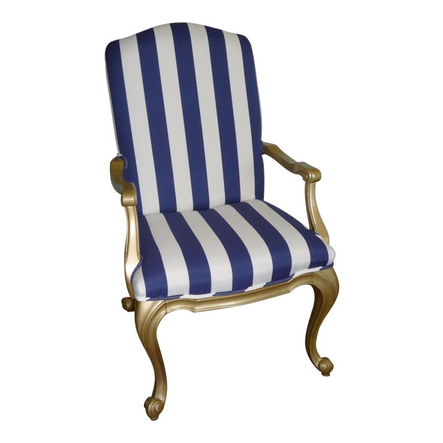 Regal Gold & Blue Striped Chair - Image 1 of 10