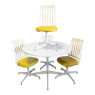 Vintage Mid-Century Modern Yellow Dinette Set - 5 Pieces For Sale