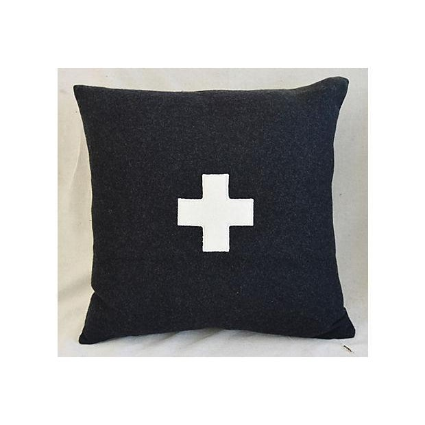 "Belgian 22"" Custom Tailored Charcoal Appliqué Cross Wool Feather/Down Pillows - a Pair For Sale - Image 3 of 12"