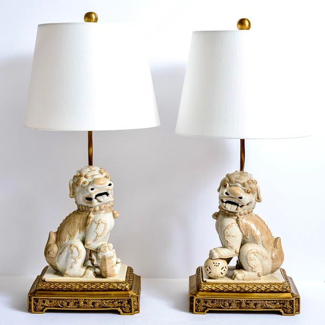 Asian Foo Dog Porcelain Table Lamps on Bronze Stands, A-Pair For Sale - Image 13 of 13