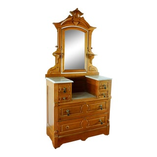Victorian Carved Wood Six-Drawer Marble Top Dresser With Mirror For Sale