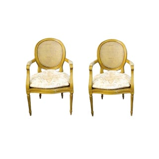 Antique French Provincial Louis XVI Fauteuils Side Chairs in Marigold - A Pair