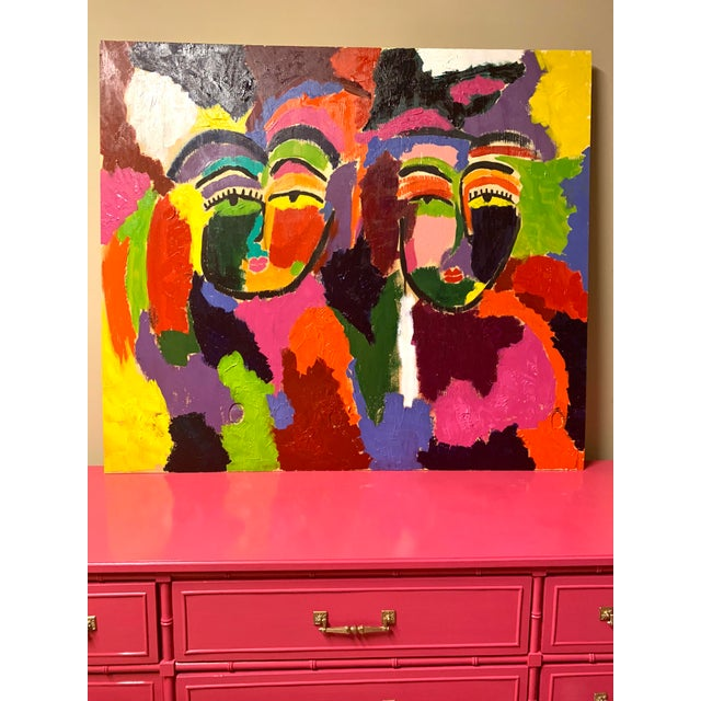 """Koko and Ming"" comes from the Faces Series by Memphis artist Ebony Boyd. This painting is vibrant and filled with life..."