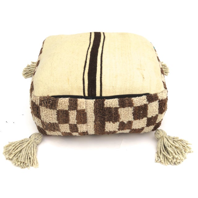 Vintage Mid Century Checkered Berber Pouf For Sale - Image 10 of 11
