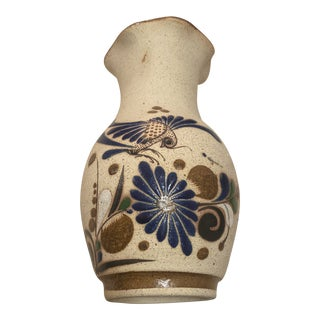 1970s Handmade Mexican Hand Painted Sandstone Pottery Vase For Sale