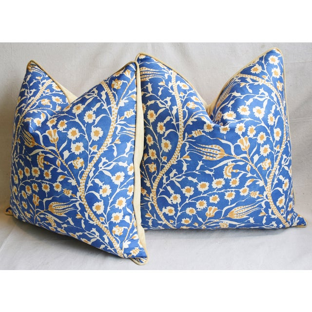 """Clarence House Floral Fabric Feather/Down Pillows 24"""" Square - Pair For Sale - Image 9 of 13"""
