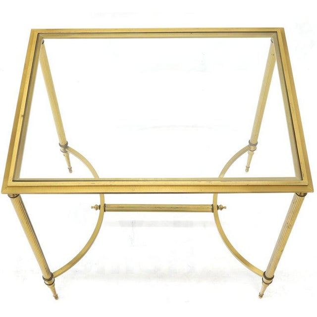 Pair of Solid Brass Glass Tops Stretcher Janson Style End Occasional Tables For Sale - Image 6 of 13