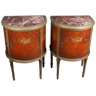 Pair of Adam Style Classical Painted and Gilt Carved Satinwood Demilune Stands For Sale