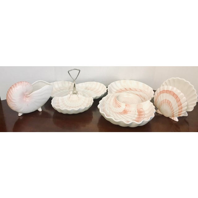 Fitz & Floyd Pink Shell Serving Dishes - Set of 4 For Sale - Image 9 of 10