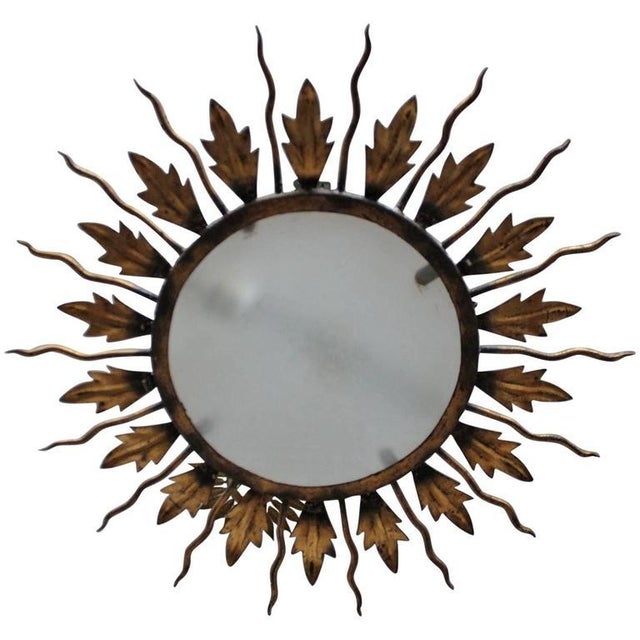 Spanish Gilt Metal Sunburst Flush Mount Ceiling Fixture - Image 8 of 8