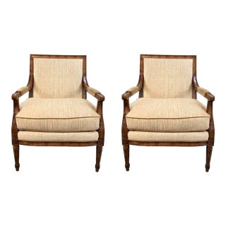 Pearson Transitional Carved Wood Lounge Chairs Pair For Sale