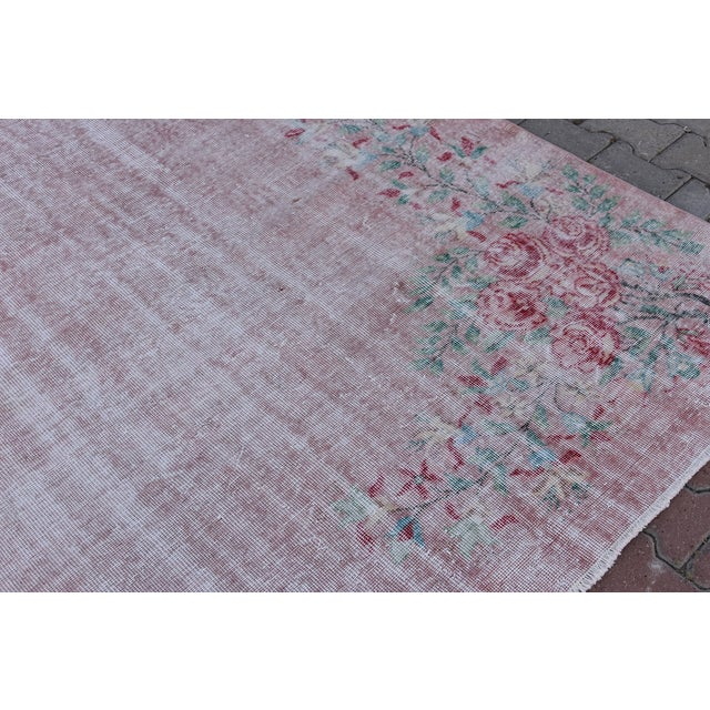 Textile Antique Handmade Faded Area Rug - 5′8″ × 8′7″ For Sale - Image 7 of 9