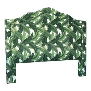 Boho Chic Custom Upholstered King Banana Leaf Headboard For Sale