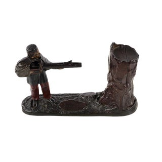 19th Century Original Cast Iron Bank-Soldier Shooting a Coin For Sale