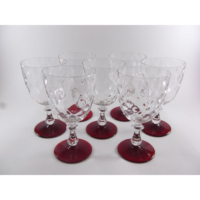 Crystal Ruby Footed Goblets - Set of 7 - Image 2 of 7