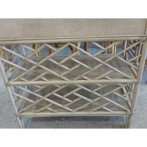 David Frances Chippendale Gray Rattan Side Table - Image 8 of 9