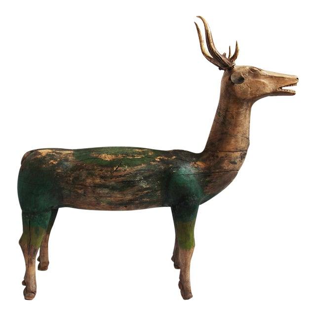 Antique Javanese Wooden Deer For Sale