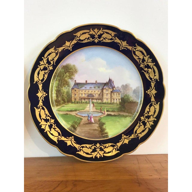 Blue Pair of Sevres Chateau Plates For Sale - Image 8 of 13